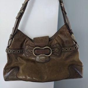 BCBGirls Olive Leather Hobo Shoulder Bag